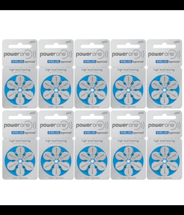 PowerOne Hoorapparaat batterij P675 blauw (60 stuks)