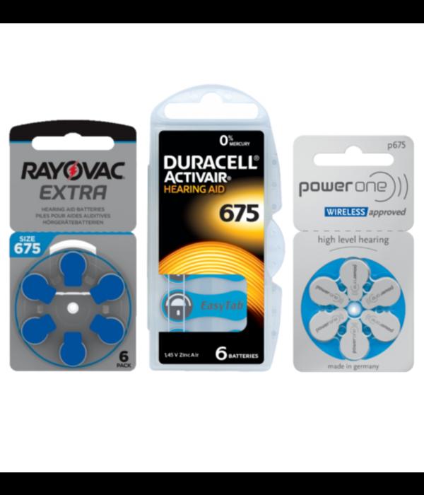 Proefpakket: 3 pakjes met 6 batterijen No. 675 blauw