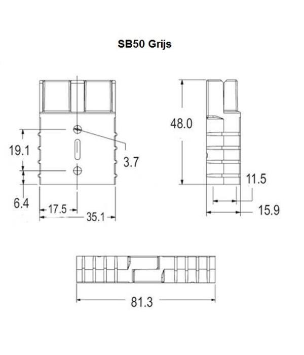 Grijze stekker / connector SB 50 Anderson