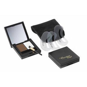 CHRISTIAN FAYE Augenbrauenpuder DUO Highlighter Kit, komplett mit Schablonen und Pinsel - Dark