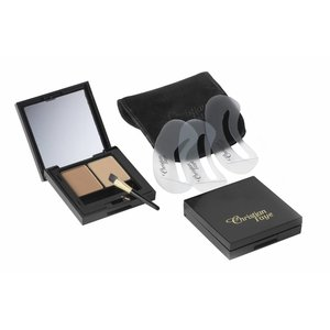 CHRISTIAN FAYE Augenbrauenpuder DUO Kit, komplett mit Schablonen und Pinsel - Brown