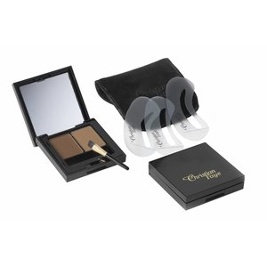 CHRISTIAN FAYE Eyebrow Make Up DUO set, complete with stencils and brush - Medium Brown