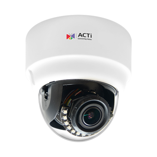 ACTi 5MP Indoor Zoom Dome with D/N, Adaptive IR, Advanced WDR, SLLS, 4.3x Zoom Lens