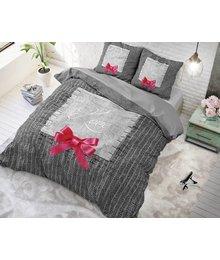 Dreamhouse Bedding katoen dekbedovertrek ''true love'' grijs met roze strik