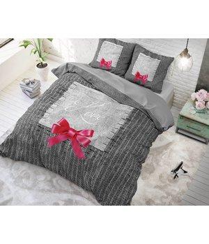 Dreamhouse Bedding katoen dekbedovertrek ''true love'' grijs met roze strik lits jumeaux aanbeiding