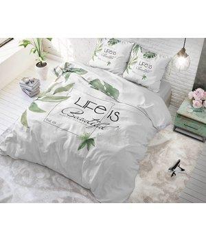 Sleeptime dekbedovertrek liefde met tekst ''life is beautiful'' lits jumeaux