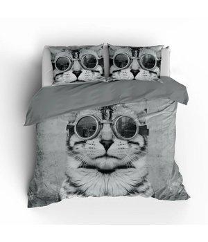 Essara dekbedovertrek kat met bril katoen