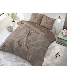 Dreamhouse Bedding dekbedovertrek liefde '' mr en mrs'' taupe