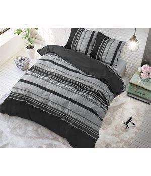Sleeptime Elegance Dekbedovertrek zwart/grijs gestreept horizontaal