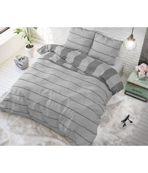 Sleeptime Elegance Goedkope dekbedovertrekken grijs gestreept in Lits jumeaux - Copy