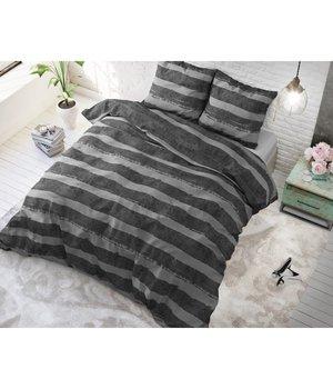 Sleeptime Elegance Dekbedovertrek antraciet gestreept horizontaal