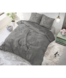 Dreamhouse Bedding dekbedovertrek liefde '' mr en mrs'' antraciet