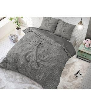 Dreamhouse Bedding dekbedovertrek liefde '' mr en mrs'' antraciet