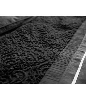 """Primaviera Deluxe Satijnen dekbedovertrek in zwarte kleur met geribbelde stroken in barok dessin """"Eclipse"""""""