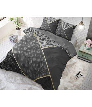 Dreamhouse Bedding katoen dekbedovertrek ''geometric'' met luipaardprint  antraciet