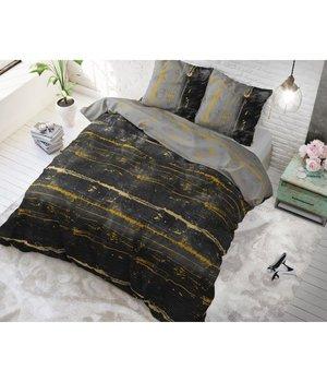 Sleeptime Elegance katoen dekbedovertrek ''charcoal grey'' met  goud strepen