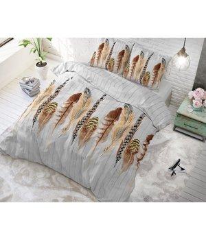 Sleeptime Elegance Bedovertrek katoen met bruine tinten en geluksveren ''Lucky Feathers''