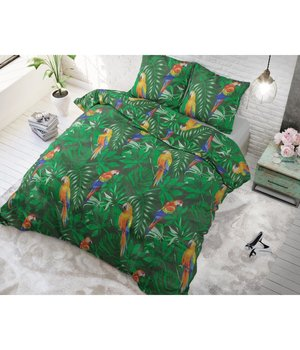 Sleeptime Elegance Dekbedovertrek ''Papegaai''  groen