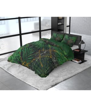 Dreamhouse Bedding Katoen satijn dekbedovertrek ''Avena'' met groen varen