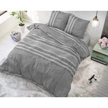Sleeptime Elegance Dekbedovertrek '' Lindo'' antraciet gestreept horizontaal