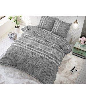 Sleeptime Elegance Dekbedovertrek ''Lindo''  antraciet gestreept horizontaal