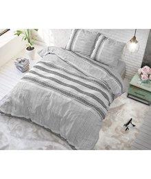 Sleeptime Elegance Dekbedovertrek '' Lindo'' antraciet/wit gestreept horizontaal wit