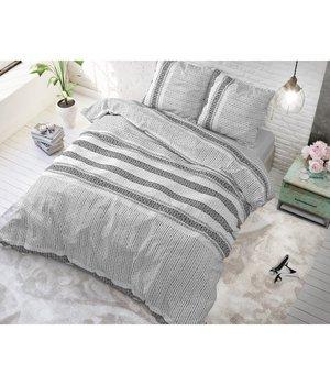 Sleeptime Elegance Dekbedovertrek ''Lindo''  antraciet/wit gestreept horizontaal