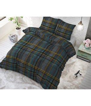 """Sleeptime Elegance Katoen dekbedovertrek groen met gekleurde strepen """"Tartan green"""""""