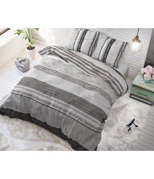 Sleeptime Elegance Dekbedovertrek ''Stay'' met zwart/grijze strepen/gestreept