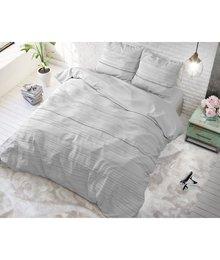 Sleeptime Elegance Dekbedovertrek effen  wit met Grijze strepen/gestreept