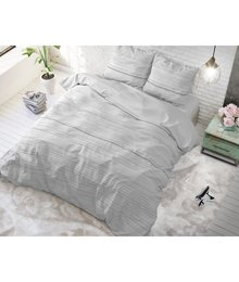 Sleeptime Elegance Dekbedovertrek effen  wit metGrijze strepen/gestreept