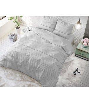 Sleeptime Elegance Dekbedovertrek effen wit' met grijze strepen/gestreept