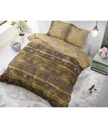 Sleeptime Elegance katoen dekbedovertrek taupe met goud strepen