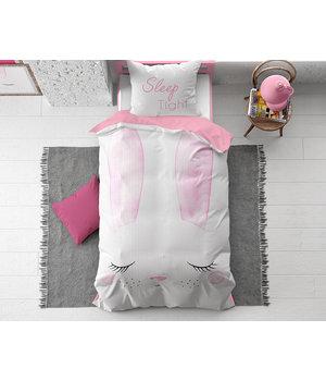 Dreamhouse Bedding Kids dekbedovertrek ''cute bunny'' roze