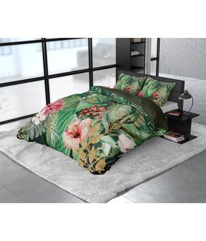 Dreamhouse Bedding Katoen satijn dekbedovertrek ''Mentha'' jungle green