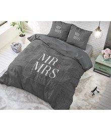 Dreamhouse Bedding dekbedovertrek '' mr en mrs'' antraciet