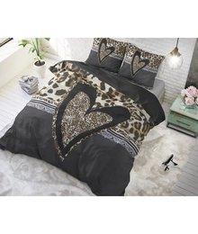 Dreamhouse Bedding Dekbedovertrek tijgerprint hart zwart