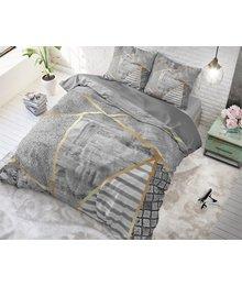 Dreamhouse Bedding katoen dekbedovertrek ''geometric marble'' antraciet/goud