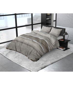 Sleeptime Elegance dekbedovertrek flanellen ''Stone stripe''taupe