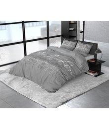 Sleeptime Elegance dekbedovertrek flanellen gekalligrafeerd ''Love and Relax'' grijs