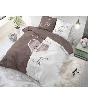Dreamhouse Bedding dekbedovertrek liefde ''Jij en Ik'' taupe/wit met steigerhout hart - Copy
