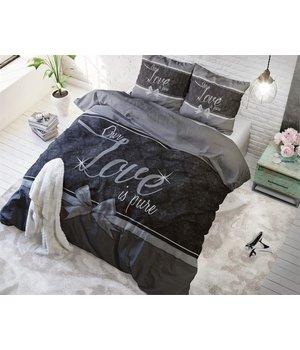Dreamhouse Bedding dekbedovertrek ''Pure Love'' zwart met een grijs/antraciet strik