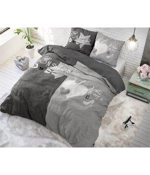 Dreamhouse Bedding dekbedovertrek  ''Madame/Monsieur'' linnenlook grijs/antraciet met strik en kroontje