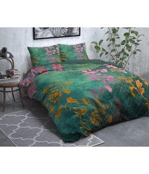 Dreamhouse Bedding Flanellen Dekbedovertrek''Wild Flower'' groen lits jumeaux