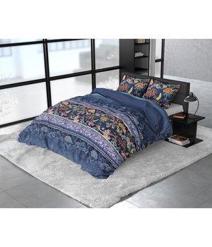 Sleeptime Elegance Flanellen Dekbedovertrek''Paisley'' blauw met fleurig dessin