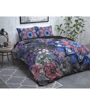 Dreamhouse Bedding Flanellen Dekbedovertrek''Dark Flower'' antraciet met fleurig dessin