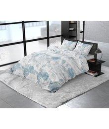 Dreamhouse Bedding Katoen satijn dekbedovertrek ''Iven'' blauw fleurig linnenlook