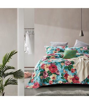 Dreamhouse Bedding Luxe bedsprei ''Flower Bomb'' turquoise