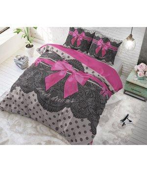 Dreamhouse Bedding katoen dekbedovertrek ''Romance''  met roze strik lits jumeaux aanbeiding