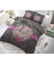 Dreamhouse Bedding katoen dekbedovertrek ''Paris pink'' met roze strik en Eiffeltoren